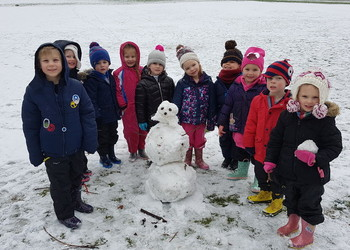 Forest school enjoying the snow